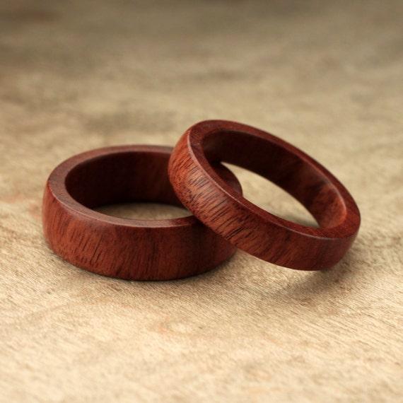 Custom Matching Mopani Wood Rings 7mm & 5mm by IanGill on Etsy