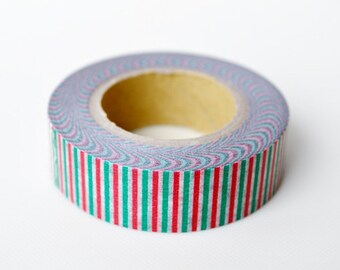 mt Washi Masking Tape - Tricoloure in Red, Green & White Stripes - Limited Edition (15m roll)