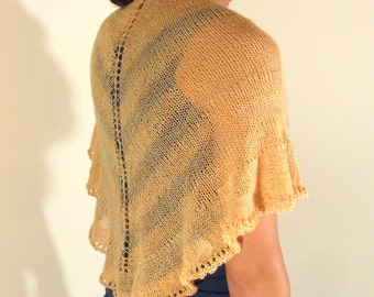 Buttercup Yellow Cantaloupe Citrine Hand Knit Lace Shawl with stripes and ruffle edge