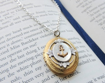 Anchor Locket // Brass anchor necklace // Nautical anchor locket