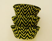 Yellow and Black Chevron ZigZag Cupcake Liners Standard Size 50 per pack