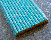 25 Solid Light Blue Star Paper Straws and PDF Printable Party Flags