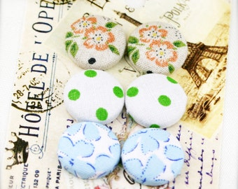 "Spring blossom - fabric covered button ear studs, set of 3 -  3/4"", 19mm (BS)"