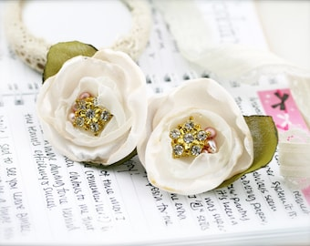 Bejeweled flower barrette hair clip - Satin, chiffon, rhinestone and pearls