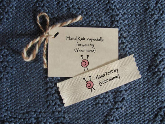 Knitting Labels Personalized : Personalized knitting labels medium size label tag combo