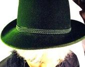 Hat 1950's Vintage Royal Green Lady Hat  Velvet  Fashion Design Original Bavaria Hat made in Italy