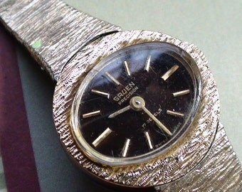 Gruen Precision 17 Jewels  Vintage Wrist Wind Up Gold Plated finish Vintage Working Watch Women On SaLe Now