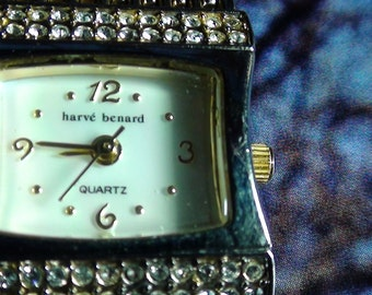 "Wrist Watch 1990's Modern Cz Crystal and Mother of Pearl Face Glass Glam 1"" Square  GLAM  Fun Watch  On SaLe Now"