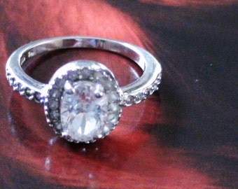 Halo Promise Ring 1 carat  Cz Radiant   Ring   with Lots of Sparks of Radiant  Paste Cz Size 7 1/2 in Sterling Silver 925  Now On SaLe
