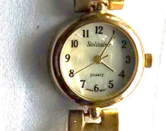 Watch WristWatch Quartz working with Swarovsky Crystals Green Pink Clear Citrine Mother of Pearl Face 1990s