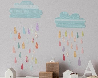 ON SALE Fabric Wall Decal - Summer Rain (reusable) No PVC