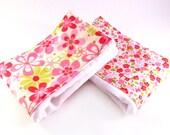 Girl Burp Cloths -Pink Flowers Burp Cloths, set of 2 Burp Cloth - Green Red Bright Girl Diaper Clothes