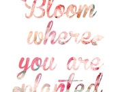 DOWNLOAD- Bloom Where You Are Planted Coral Art Print