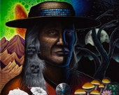 Yaqui Indian Medicine Man Don Juan Carlos Castaneda Psychedelic Portrait Art Print on Canvas