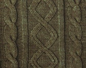 2461B -- Knit Cable Look , Diamond and Rib Print Fabric in Bistre Brown , Wash Effect Look , Japanese Cotton, Cosmo Textile