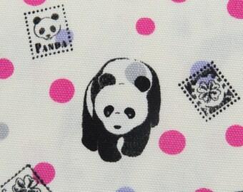 2455 -- Full Yard , Kawaii Panda with Dots Fabric in Cream White , Japanese Cotton Canvas Fabric , Kokka Fabric