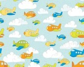 "Riley Blake Designs ""On The Go"" by Bo Bunny, Sky blue Airplanes"