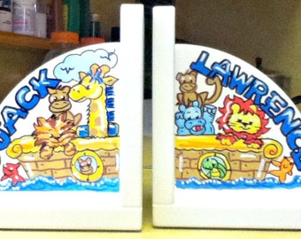 Kids Bookends Noah's Ark Design Handpainted Personalized
