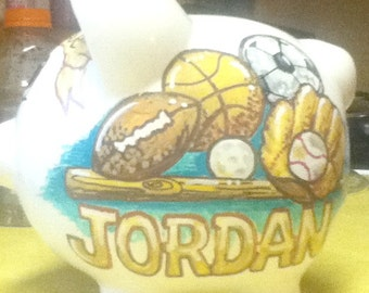 Personalized Kids Piggy Bank Vintage Sports Theme Handpainted