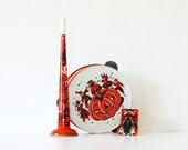 The Halloween Band - Vintage Tambourine - Vintage Horn - Vintage Noise Maker - Orange - Black - Fall - Autumn - Party - Instruments - Music