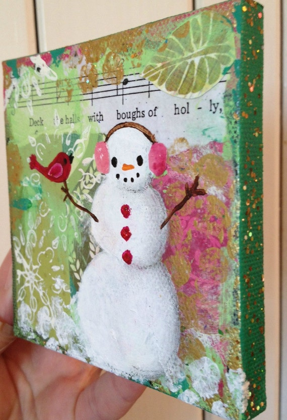 Christmas snowman original painting decor mixed media