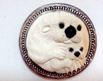 White Seal Mother and Baby Sterling Silver Celluloid? Pin / Pendant signed K