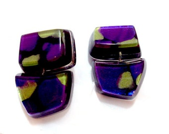 Chunky, Bold VIGNERI EARRINGS, Plexiglas Metallic Purple, Blue, Chartreuse