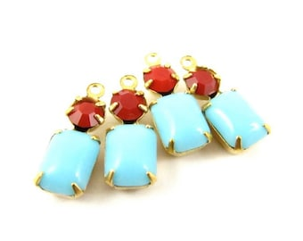 Vintage Glass Octagon Stone Swarovski Crystal 1 Ring 2 Stones Brass Prong Settings 16x6mm Turquoise Blue & Cherry Red - 2 .