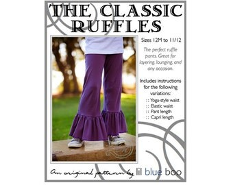 DIY PDF Sewing Pattern and Tutorial - The Classic Knit Ruffle Pant  - Sizes 12M through 12