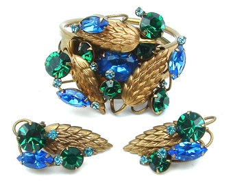 Clamper Bracelet Clip Earrings Wheat Emerald Green Blue Rhinestone Jewelry Set Demi Parure