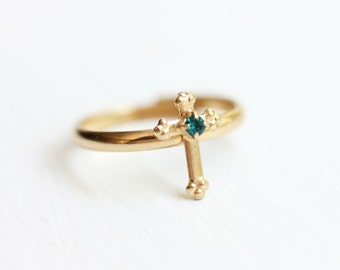 Cross Ring Gold, Green Ring, Gold Ring, Adjustable Ring, Religious Ring, Christian Ring, Cross Ring, Gold Cross Ring, Green Stone