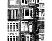 Escapes 11x14 Black and White photo Urban Home Decor architecture Chicago city fire escapes and windows quirky high rise industrial
