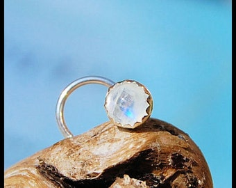 Rainbow Moonstone Nose Stud 4mm - Set in Sterling Silver Serrated Bezel -  CUSTOMIZE