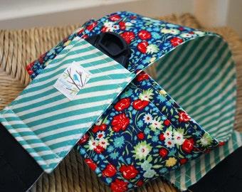 Camera Strap April Showers Teal Stripe, Reversible, Built in Lens Cap Pocket