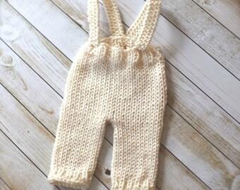 Cream Suspender Baby Pants - newborn photo prop