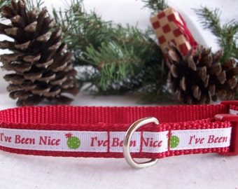 """Christmas Holiday Dog Collar, """"I've Been Nice"""" In XS, S, M  Side Release Buckle Style"""