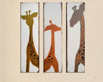 three giraffes - original rustic earthy art PAINTING abstract modern contemporary textured fine art by Shanna