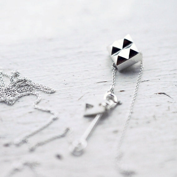 Spiky two-face cube solid silver necklace