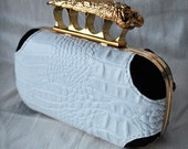 CROCODILE Clutch Handbag 40% Off Hornback CROCCO GATOR Skull Wing Knuckle Duster Purse Gold Frame TianaCHE