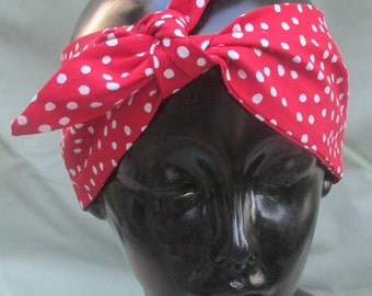 red polka dot hair wrap head band bandana 50s Rosie rockabilly