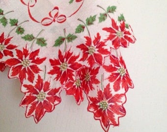 Vintage Poinsettia Handkerchief with Holly Berries and Bells