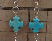 FREE USA SHIPPING Turquoise Cross Sterling Silver Lacey Drop Leverback Earwire