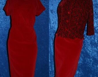 Vintage 60s 1960s Red Velvet Bolero Sheath Wiggle Pinup Mad Men Soutache Dress Jacket New Years Christmas