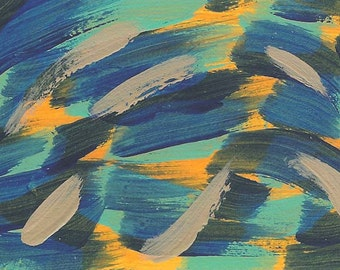 Spirits of the Unfathomable Deep, digital print, ACEO, spirit, spirits, water, ocean, deep, blue, orange