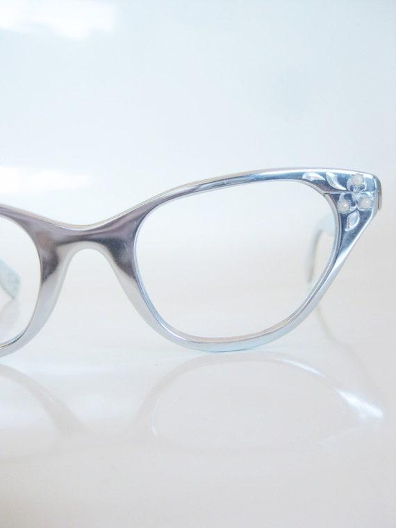 Vintage Silver Eyeglass Frames : Vintage 1960s Tura Eyeglasses Glasses Cat Eye Aluminum Silver