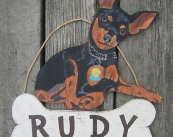 MINITURE PINSCHER Custom Dog Sign - Original Hand Painted Hand Crafted Wood
