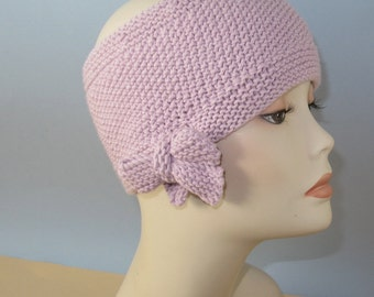 Instant digital pdf File Download Knitting Pattern - Tie up Bow Moss (seed) Stitch Headband Circular Knitting Pattern