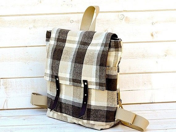 Reserved for Lauren / WATERPROOF Backpack  leather/ cotton in plaid charcoal titanium Whitecap Gray 12 POCKETS Fall-Winter Fashion