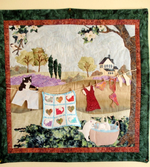 Quilted Wall Hanging - Spring clothesline with kittens