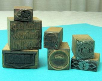 Vintage Printers Blocks 7 pieces